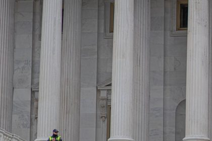 a police officer standing near white concrete pillars of a building